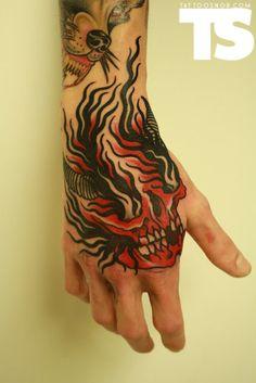 Flaming Skull Hand