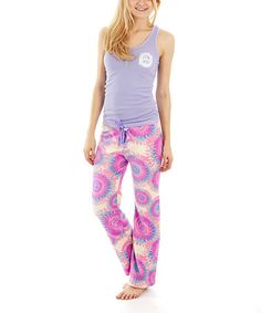 This Purple & Pink Peace Pajama Set - Women & Plus is perfect! #zulilyfinds