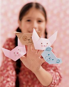 Origami Finger Puppets and Flowers