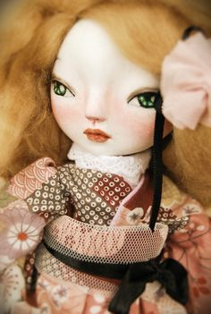 JUNE is totally handmade art doll with BJD style. Her height is about 9 inches. She made from air-dry clay.