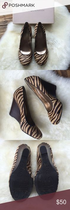 """BCBGeneration Zebra Wedges NWOT Real calf hair zebra wedges.  7M in size. Wedge 4"""" high. Will ship with box. BCBGeneration Shoes Heels"""