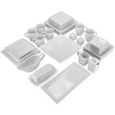 Features -Set includes 1 x large serving bowl 1 rectangular platter 1  sc 1 st  Pinterest & 10 Strawberry Street Nova Square Banquet 45-Piece Dinnerware Set ...