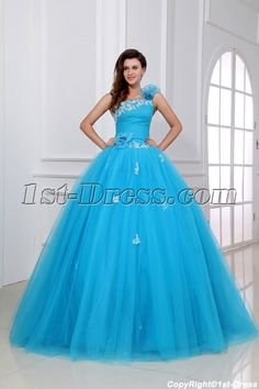 Charming Blue Festa de Quinze Anos Dress with One Shoulder $189.00