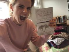 """Emma Watson promotes the new March/April book of Our Shared Shelf """"Women who run with the wolves"""" by Clarissa Pinkola Ester Emma Watson, Book Nerd, Book Club Books, The Book, I Love Books, Good Books, Books To Read, Emma Thompson, Reading Lists"""