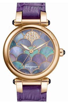 Salvatore Ferragamo 'Idillio' Calfskin Leather Strap Watch, 34mm