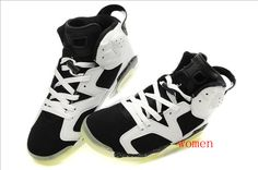 Air Jordans 6 Women Shine Bottom Shoes Black White For Cheap