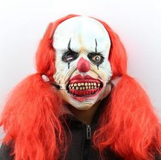 Halloween Mask Scary Clown Makeup Mask Products Clown Show Headgear Accessories Clown Mask Funny Wig Payaso Performance Hot Sale