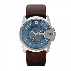 Silvertone luminescent hands set against a blue dial to highlight this stylish Diesel watch. A stainless steel case and a brown leather strap combine with precise quartz movement to finish this fine timepiece.