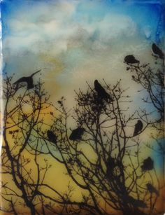 High in the Treetops Encaustic Encaustic Art, Alcohol Inks, Watercolors, Angels, Wax, Craft Ideas, Paintings, Sculpture, Architecture