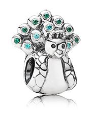 Peacock silver charm with mint and dark green cubic zirconia - No.791227MCZ - Metal: Silver - Color: Blue - Stone: Cubic zirconia