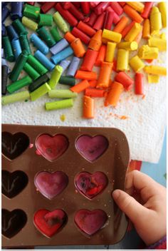 melted crayon hearts tutorial @Carrie Spritzer / The Creative Salad (I made some of these a few years ago and they were super cute!)