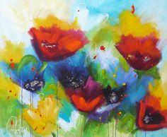 Adry's schilderij nr. 2052 met als titel: We all share the same tulip  in het formaat 100 x 120 cm.