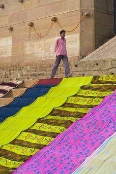 Saris drying....Varanasi, India #Hinduism