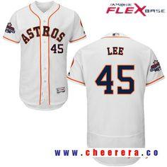 Men's Houston Astros #45 Carlos Lee White Home Majestic Flex Base Stitched 2017 World Series