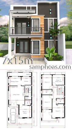 Home Design Plan with 5 Bedrooms. This villa is modeling by SAM-ARCHITECT With 2 stories level. It's has 5 Bedroom House descriptio Bungalow Haus Design, Modern Bungalow House, Layouts Casa, House Layouts, House Front Design, Modern House Design, Small House Plans, House Floor Plans, 5 Bedroom House Plans