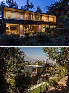 18 Modern House In The Forest // This family house might be surrounded by the hillside forest but it also has beautiful views of the city below.