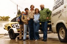 Car 61 - Mazda RX3 - Back at home after victory at Road Atlanta 1980 with the crew, Bob Viewig, Larry Precourt, Stieg Svard, Ellen and me.