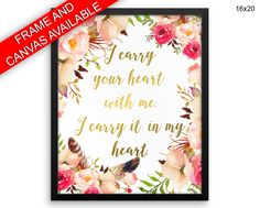 Floral Wall Art Framed Heart Canvas Print Floral Framed Wall Art Heart Poster Floral your heart with me woman gift i carry your heart - Physical Product #wallart #canvaswallart #framedwallart #physicalwallart