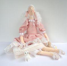 Cloth stuffed Doll Fabric doll Gift  tilda by CherryGardenDolls, $69.95