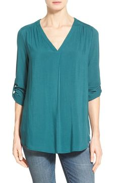 Pleione Mixed Media V-Neck Tunic (Regular & Petite) (Nordstrom Exclusive) available at #Nordstrom