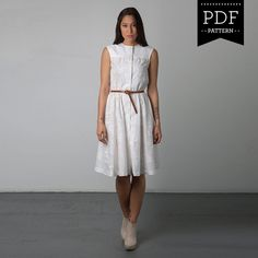 Buy sewing pattern for summer dress, sleeveless sewing pattern, button front dress for summer, designed for hourglass and pear shaped women. Independent pattern designer. Made in Canada. Instant PDF download sewing pattern.