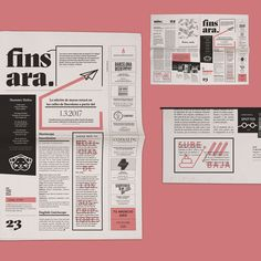 Graphic design for a monthly independent Barcelona newspaper based on a 3 stroke system and asymmetric distribution of space. Fun, quirky and bold design, just like its content.