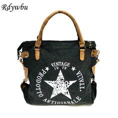 Rdywbu VINTAGE BIG STAR PRINTED CANVAS TOTE HANDBAG - Women's Multifunctional Travel Shoulder Bag Letters Messenger Bolsos B211  #model #dress #beauty #shopping #streetstyle #fashionista #pretty #swag #cute #sweet