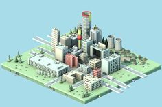 Low poly South African cities
