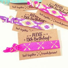 Boho Birthday Party Hair Tie Favors Personalized by LoveMiaCo