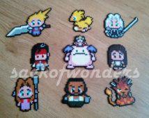 Final Fantasy VII (7) Characters Set Perler Bead Magnet, Keychain, Necklace - Sprite Pixel Art Hanger, Car Hanger, Key chain, Cloud