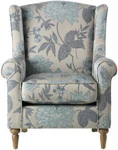 Home Decorators Collection Collins Wingback Chair, D, Blue Flowers Comfy Reading Chair, Blue Dining Room Chairs, Study Chairs, Wing Chairs, Ikea Chair, Contemporary Dining Chairs, Chair Fabric, Upholstered Chairs, Wingback Chairs