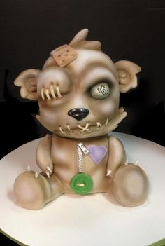 zombie teddy bear! baby shower cake by debbie does cakes