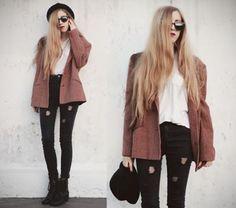 Jacket: vintange, grunge, classy, black jeans, hat, almost red ...