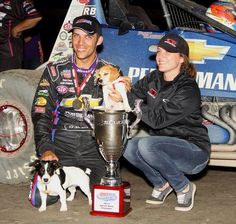 Bryan Clauson and wife with racing pups Stewart and Chevy. I've met all 4 of them :)