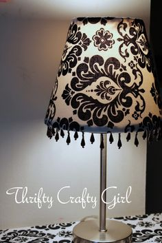 DIY Lamp Shade Made mine in a light bronze silk with brown dangling beads
