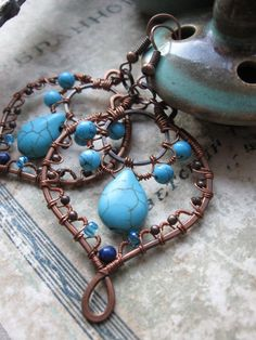 Made to Order - Ornate Bohemian Wire Wrapped Copper Earrings -  Filigree Lace Leaves - Copper and Turquoise Jewelry- dangle earrings