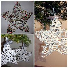 glitter stars made of paper wicker  http://handmadeowo.blogspot.com/2013/11/brokatowe-gwiazdki-na-choinke-z.html