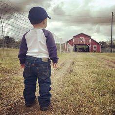 Good life - LIttle boy in baseball cap looks toward a red barn on the farm