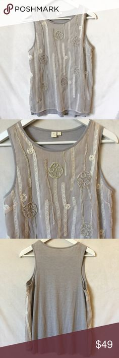 """NWT Anthropologie Eloise Rosita Embellished Top Gray/tan colors with lace floral overlay. Fabric is a super soft jersey material. Measures approx 28"""" from shoulder to bottom hem. Tag says small but fits large. New with tags. Anthropologie Tops Tank Tops"""