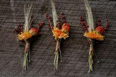 Hochzeit im Herbst | schicke Ansteckblumen für den Bräutigam mit Weizenähren ...