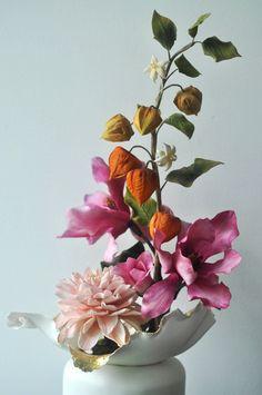 Oriental Inspired Sugar Flower Cake Sculpture