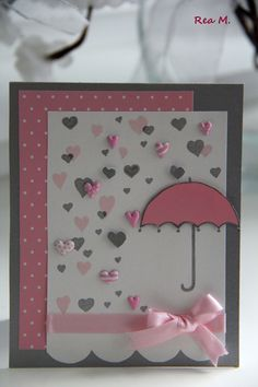 Bridal shower cards umbrella Ideas for 2019 Umbrella Cards, Rain Umbrella, Tarjetas Diy, Baby Girl Cards, Bridal Shower Cards, Get Well Cards, Valentine Day Cards, Valentine Ideas, Greeting Cards Handmade