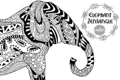 Elephant Zentangle by LidiaP on Creative Market