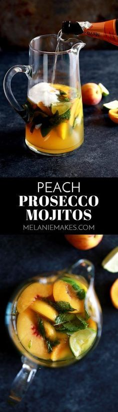 These seven ingredient Peach Prosecco Mojitos couldn't be easier. Fresh mint and limes are muddled together before being doused in peach juice, simple syrup, white rum and Prosecco.