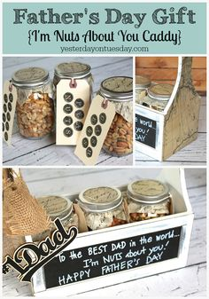 """Fun DIY Father's Day Gift idea, an """"I'm Nuts About You"""" Caddy. A whimsical, thoughtful and useful present for Dad."""