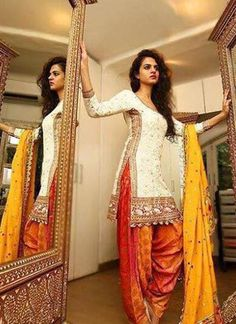Floral White With Orange Embroidered and Lace Work Punjabi Salwar Kameez At…