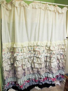 """Anthropologie inspired shower curtain. *Double Click image for """"how to"""" at www.re-nest.com"""