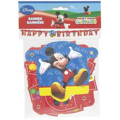Throw an extra special Mickey Mouse birthday party! Contains one large jointed party banner. Banner measures 4.16 feet long (1.27 meters)