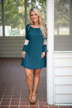 Pink Coconut Boutique   Making Tonight Last With Lace Dress - Teal