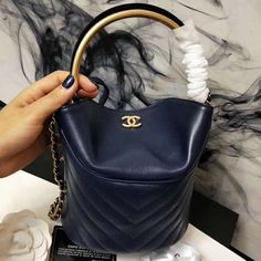 Chanel Chevron Lambskin Handle with Chic Bucket Bag Blue 2018     Real Bag  Sale be8c7556060bc